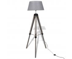 Lampada da terra in legno treppiedi regolabile paralume tessuto grigio