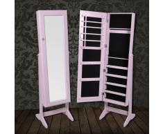 vidaXL Armadietto portagioielli autoportante con specchio rosa