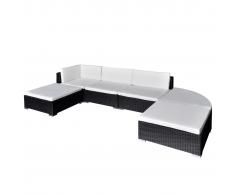 vidaXL Set da salotto in polirattan nero mobili per giardino 16 pz