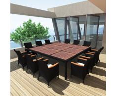 vidaXL Set Mobili da pranzo esterno in polirattan nero 200x200 cm