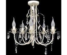 vidaXL Lampada da soffitto pendente lampadario di cristallo 5 portalampade