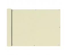 vidaXL Paravento da Balcone in Tessuto Oxford 75x400 cm Crema