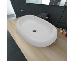 vidaXL Lavello Bianco in ceramica di lusso a forma ovale 63 x 42 cm