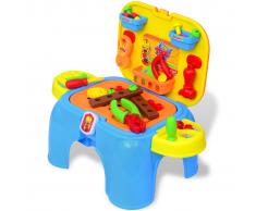 vidaXL Giochi Da Camera Per Bambini Banco Lavoro Con Attrezzi Blu + Giallo