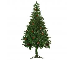 vidaXL Albero di Natale Artificiale Satinato con Pigne 150 cm