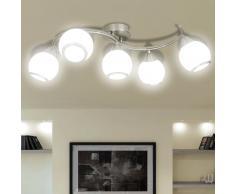 vidaXL Lampada da soffitto lampadario in vetro per 5 lampadine E14