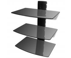 Supporto con 3 mensole di vetro montaggio a muro per DVD nero