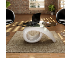 vidaXL Tavolino in bianco lucido con piano di vetro temperato