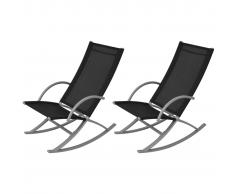 vidaXL Set sedie a dondolo da giardino 2 pz nero