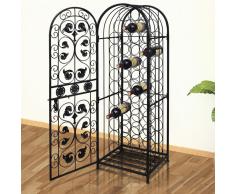 vidaXL Portabottiglie di Metallo per 45 Bottiglie Vino