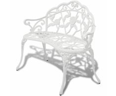 vidaXL Panchina da giardino in alluminio fuso bianco