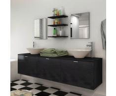 vidaXL Set 8 pz Mobili da bagno e lavandino nero