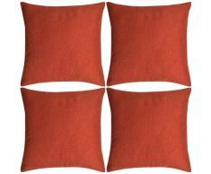 vidaXL Set 4 Federe per Cuscini in Simil-Lino Terracotta 40x40 cm