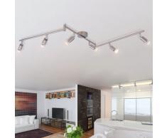 vidaXL Lampada da Soffitto con 6 Faretti a LED in Nichel Satinato