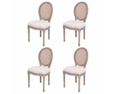 vidaXL 4 Pz Sedie per Sala da Pranzo in Tela e Rattan