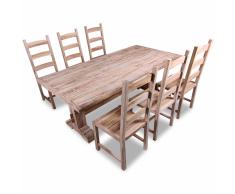 vidaXL Set 7 Pezzi Grande Tavolo e Sedie Sala da Pranzo in Teak
