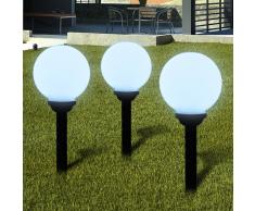 vidaXL Lampione solare a LED da giardino 20 cm 3pz con picchetto