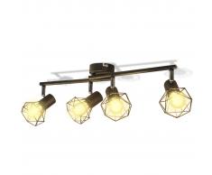 vidaXL Faretto stile industriale nero con 4 lampadine ad incandescenza a LED