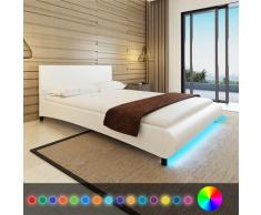 Letto ecopelle 140 x 200cm striscia LED bianco e materasso con memoria