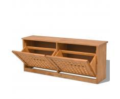 vidaXL VidaXL Panchina Stoccaggio scarpe in solido legno di noce 94x20x38 cm