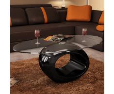 vidaXL Tavolino salotto nero basso con base circolare