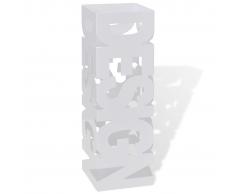 vidaXL Portaombrelli e bastoni da passeggio quadrato bianco acciaio 48,5 cm