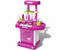 vidaXL Giocattolo bambini Cucina con luci ed effetti sonori rosa