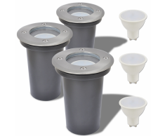 vidaXL Faretto Carrabile LED 3 pz Rotondo per Esterno