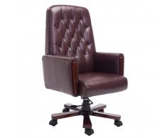 Sedia da ufficio Chesterfield in pelle artificiale marrone