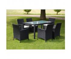 vidaXL Set 13 pezzi Tavolo e sedie da giardino in vimini nero