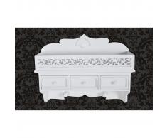 vidaXL Mensola appendiabiti a muro 3 cassetti stile classico bianca