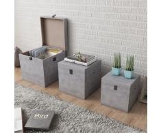 vidaXL Set 3 Scatole quadrate in MDF colore grigio cemento
