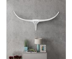 vidaXL Decorazione da parete Testa toro colore argento 75 cm