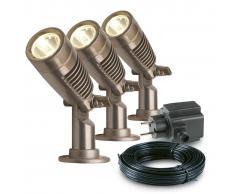 Garden Lights 3 pz Faretti da Giardino Minus in Alluminio 3096123