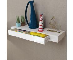 vidaXL Mensola per pareti con cassetto, Bianco MDF Libri/DVD