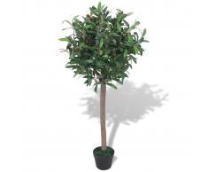 vidaXL Albero di Alloro Pianta Artificiale con Vaso 120 cm Verde