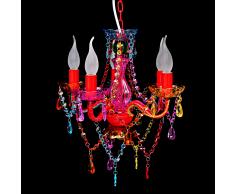 vidaXL Lampadari vetro lampadario cristalli artificiali multicolore