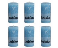 Bolsius Candela Pilastro Rustica 130 x 68 mm Blu acqua 6 pezzi