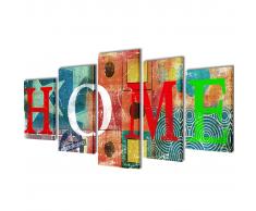 5 pz Set Stampa su Tela da Muro Modello Home Colorato 100 x 50 cm