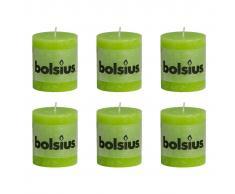 Bolsius Candele Pilastro Rustiche 6 pz 80x68 mm Lime