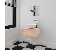 vidaXL Set 4 Mobili per bagno con lavandino rubinetto beige
