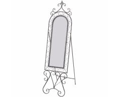 vidaXL Specchio verticale shabby in ferro antico grigio