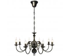 vidaXL Lampadario Stile Antico Metallo Nero lampadine 8 x E14