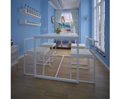 vidaXL 5 Pz Set Tavolo e Sedie Sala da Pranzo Bianco