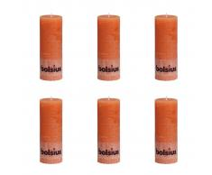 Bolsius Candele Pilastro Rustiche 6 pz 190x68 mm Arancione