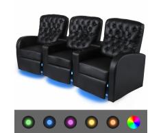 vidaXL Poltrona da Cinema Reclinabile 3 posti con LED Similpelle Nera