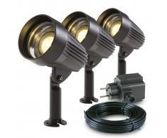 Garden Lights 3 pz Faretti LED da Giardino Corvus in Alluminio 3154013