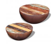 vidaXL Tavolino da Caffè 2 Pz a Forma di Palla in Legno Recuperato