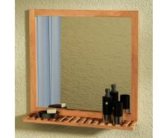vidaXL Specchio da Bagno in Legno Massello di Noce 60x63 cm