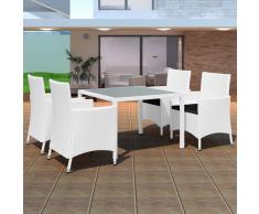 vidaXL Set Tavolo e Sedie per Esterni 9 pz in Polirattan Bianco Crema